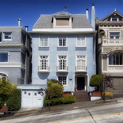Blue House on street